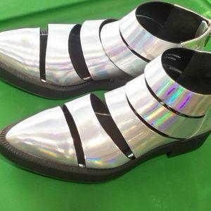 YRU booties silver holo 8 cutout katana zip alien